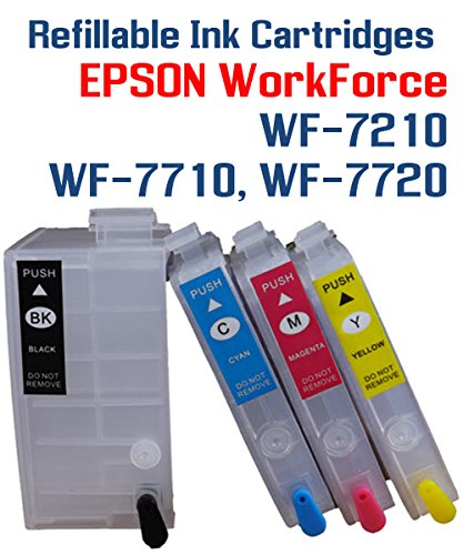 T252XL Refillable Ink Cartridges - WorkForce WF-7210 WF-7710 WF-7720 printer Refillable ink cartridge package 4 Refillable ink cartridges with Auto Reset (4 Reset Chips)