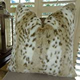 Thomas Collection Leopard Faux Fur Throw Pillow for sofa, Leopard Pillow, Taupe White Brown Throw Pillow, Leopard Throw Pillow, Animal Pillow, COVER ONLY, NO INSERT, Handmade in USA, 17431
