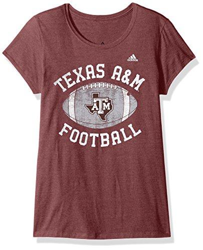NCAA Texas A&M Aggies Adult Women Gameday Double Arch Cap sleeve Tee, Medium, Classic Maroon Heathered