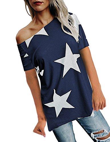 Surbepo Manches Rue De Style Étoile Coton Impression Haut À Long T-shirt T-shirt Avec Manches Col Un Mot Bleu