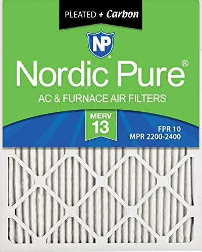 Nordic Pure Luftfilter, 20 x 30 x 1M13+C-6, MERV 13 Plus Carbon, AC Ofenluftfilter, 6 Stück