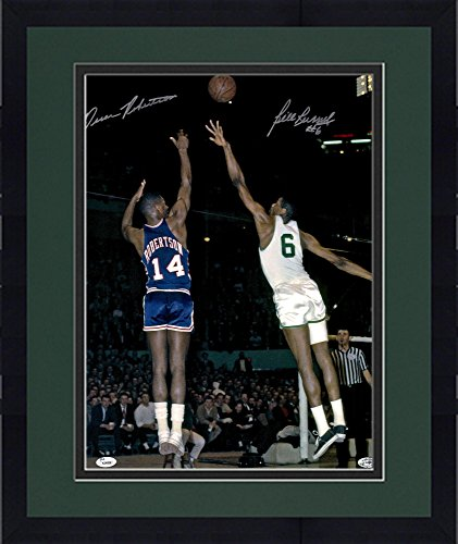 Framed Oscar Robertson & Bill Russell Autographed 16