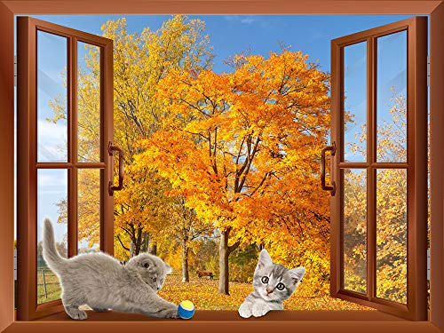 Two Cats Playing on the Windowsill with Golden Leaves in the Background Removable Wall Sticker Wall Mural