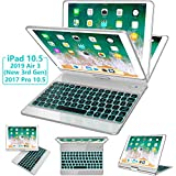 iPad Pro 10.5 Case with Keyboard 2017/ iPad Air 3rd Gen Case with Keyboard 10.5 2019, 360 Rotate 7 Color Backlit Wireless Folio Keyboard Case Cover, Auto Wake Sleep/Silent Typing, Silver