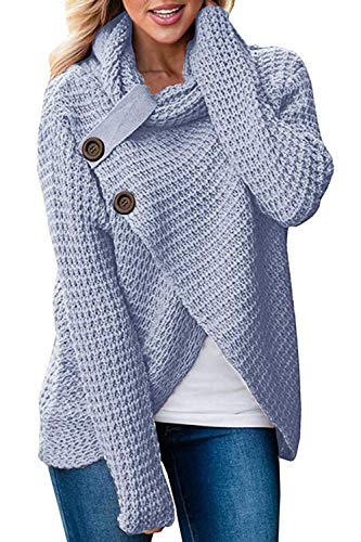 LovInParis Women's Chunky Long Sleeve Cowl Neck Wrap Knit Cardigan Sweater With Button (Knit Wrap Cardigan)