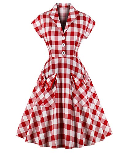 ZAFUL Women's 1950s Vintage Cap Sleeve V Neck Plaid Swing Dress with Pockets (2XL, Red)