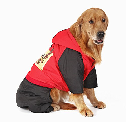 Red XL(Bust106,Back86,Neck72) Red XL(Bust106,Back86,Neck72) Pet dogs warm Costume Autumn and winter Medium Large Hoodies cotton coats golden Retriever Samoyed dog Clothes Red XL