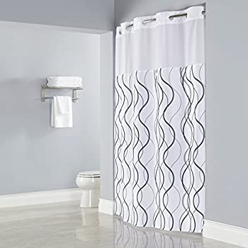 HOOKLESS WAVES SHEER Polyester Shower Curtain With 12 Sheer Voile Window 71x77