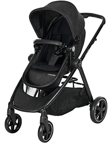 Maxi-Cosi Zelia Baby Pushchair, Lightweight Urban Stroller from Birth, Travel System with Bassinet, 0 Months - 3.5 Years, 0 - 15 kg, Nomad Black, Black Frame
