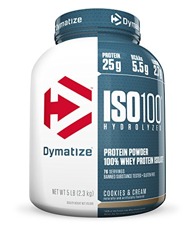 Dymatize ISO 100 Post Workout and Recovery Supplements, Cookies and Cream, 5 Pound (Pack of 6)
