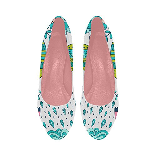 Flowers Ethnic Shoes Pattern prin 11 InterestPrint 5 high Color9 Heel Violet Wedge Womens Pumps Size Colorful Stripe wXqzxF8XZ