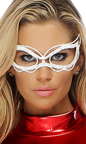 Forplay Women's Rhinestone Mask with Scalloped Edges and Ribbon Tie Closure, Silver, One Size - Forplay Rhinestone