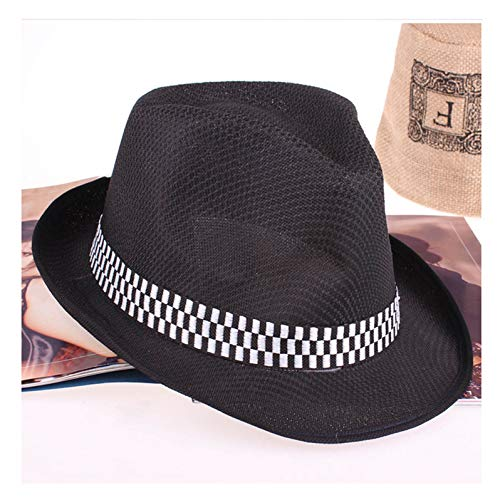 (Summer Fast Dry Jazz Fedora Hats Outdoor Beach Sunhat Breathable Gangster Cap Stage Hat for Men Women)