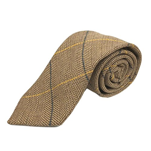 Luxury Light Oak Herringbone Check Necktie, (Luxury Herringbone Necktie)