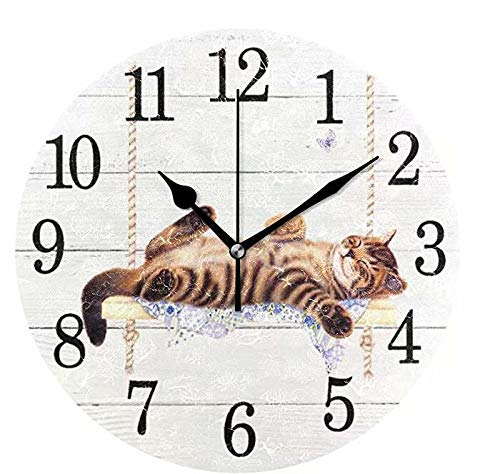 Wamika Round Wall Clock Cat on Swing White Vintage Wooden Clock Silent Non Ticking Wall Decorative,Kitty Cute Cats Flowers Butterfly Clocks 10 Inch Battery Operated Quartz Quiet Desk Clock for Home (Cat Clock Small)