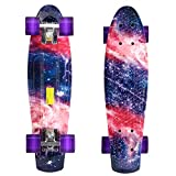 WeSkate Mini Cruiser Skateboard 22'' Complete Cool Banana Board for Kids Boys Youths Beginners
