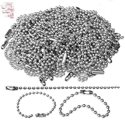 150 pcs 100mm Bead Connector Clasp,2.4mm Diameter Ball Chain Keychain Rings Metal Bead Chain Nickel Chain Dog Tag Chain