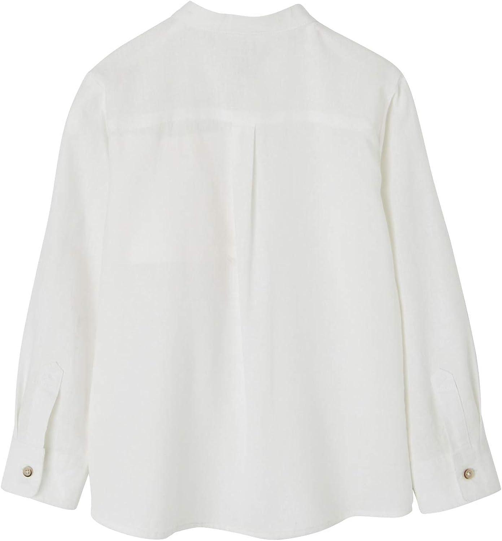 VERTBAUDET Camisa de Lino/algodón para niño con Cuello Mao, de Manga Larga Blanco Claro Liso 3A