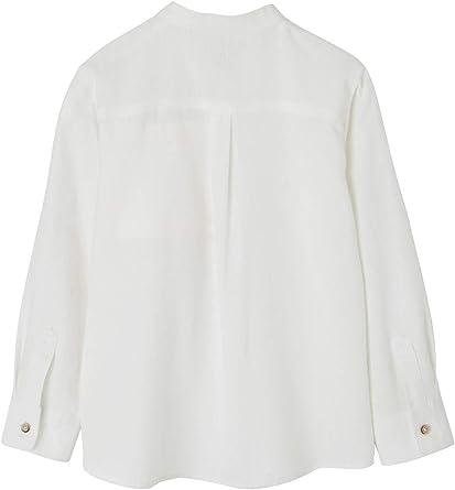 VERTBAUDET Camisa de Lino/algodón para niño con Cuello Mao, de Manga Larga Blanco Claro Liso 3A: Amazon.es: Ropa y accesorios