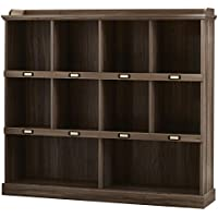 Bowerbank 48 Square Cubbies first two rows Unit Paper Board Backing bookcase (Salt Oak)