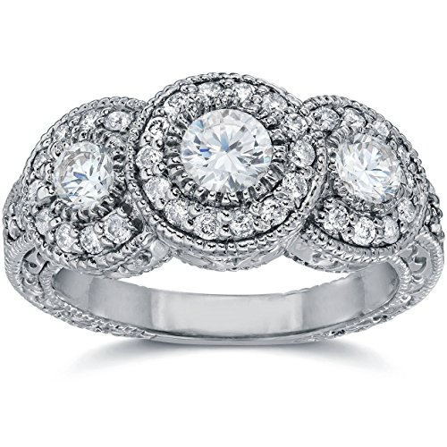 1.50CT Vintage Three Stone Diamond Engagement Ring 14K White Gold