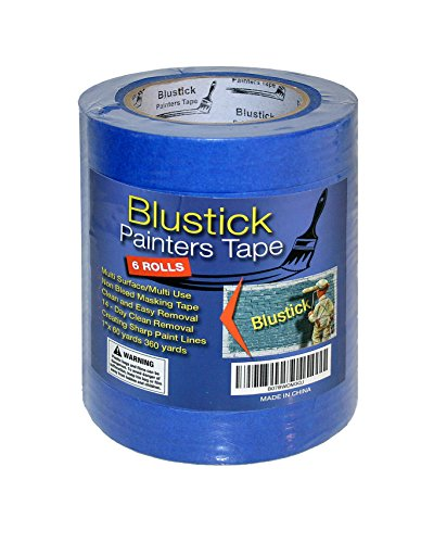 Blue Painters Tape | Medium Adhesive | 14 Day Clean Release Masking Tape | No Residue | DIY or Professional Painter | 6 Pack, 1 Inch x 60 Yard Length, 360 Yards in Total by Blustick Painters Tape