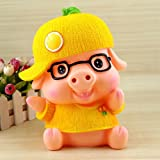 Kawaii Cute Wear glasses Yellow Fruit Pig Piggy Bank Resin Personalized Baby Nursery Decor Home Furnishing decoration M Size