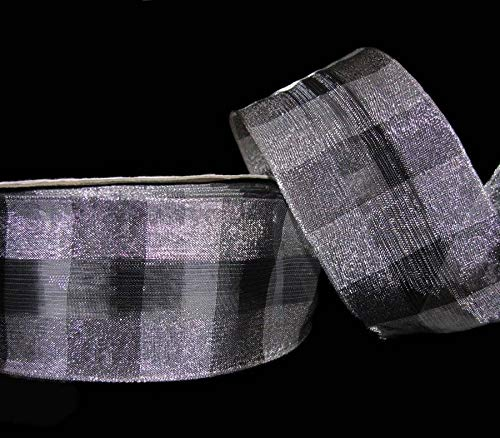 - Ribbon Art Craft Decoration 5 Yards Silver Black Dashing Plaid Metallic Wired Ribbon 2 1/2