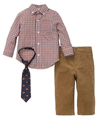 Little Me Baby Boys' Button up Woven Pant Set, Orange Check, 24 Months