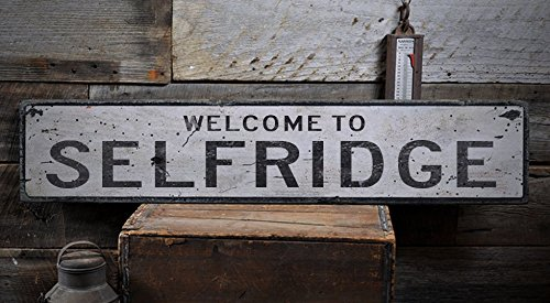 Welcome to SELFRIDGE - Custom SELFRIDGE, NORTH DAKOTA US City, State Distressed Wooden Sign - 11.25 x 60 - Selfridges Sign