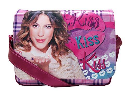VIOLETTA Borsa Scuola con Tracolla MESSENGER KISS cartella zaino bambina Disney