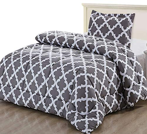 - Utopia Bedding Printed Comforter Set (Twin, Grey) with 1 Pillow Sham - Luxurious Brushed Microfiber - Goose Down Alternative Comforter - Soft and Comfortable - Machine Washable