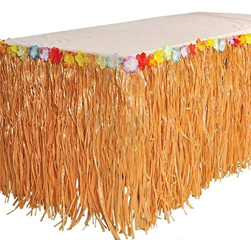 Rhode Island Novelty Luau Natural Color Grass Table Skirt Decoration with Tropical Flowers, 9' x 29