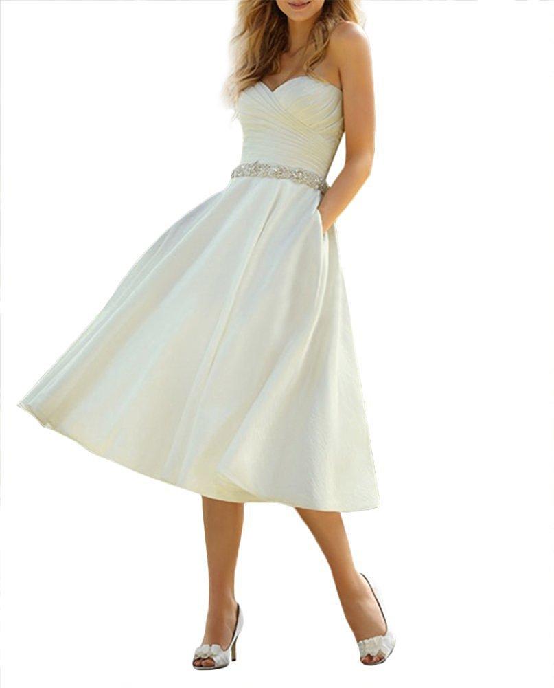 Izanoy Damen 50s Jahrgang Kurz Hochzeitskleider V-Ausschnitt Perlen ...