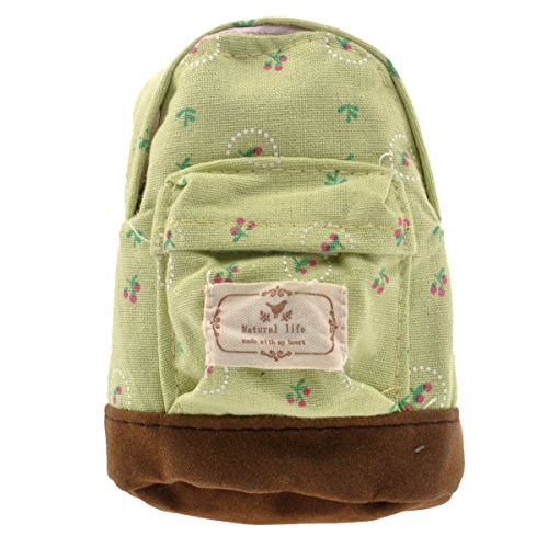 OULII Mini Backpack Shape Purse Flower Coin Bag Wallet Hand Pouch Purse Key Chain Keyring Green Pink