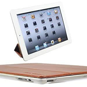 Snugg iPad 2 Ultra Thin Smart Case in Brown - Flip Stand Cover with Auto Wake and Sleep for Apple iPad 2