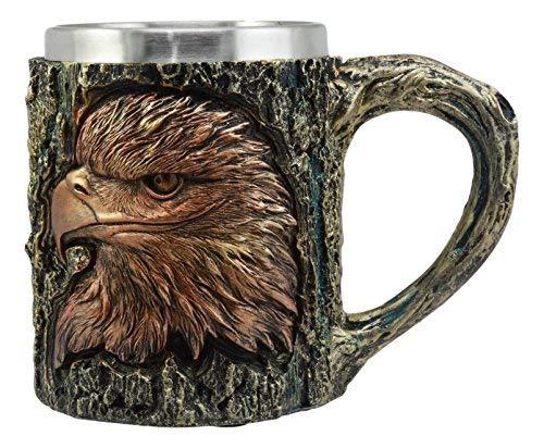 Bald Eagle Steel Mug - Ebros The Surveyor Wildlife Majestic Bald Eagle Coffee Mug With Rustic Tree Bark Body Design In Painted Bronze Finish 12oz Drink Beer Stein Tankard Cup