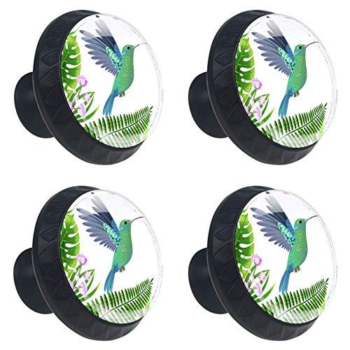 - Idealiy Tropical Leaves Hummingbird Drawer Knob Pull Handle Cupboard Knobs with Screws 4pcs