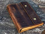 Personalized A5 Leather Journal, distressed leather refillable binder travel notebook portfolio - NA505PDS