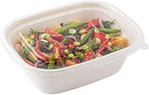 Pulp Tek Fits 48 Ounce And 60 Ounce Bagasse Container Lids, 100 Recyclable Lids For Compostable Trays - Crack Resistant, Built In Tab, Clear Plastic Flat Lids For Bagasse Trays, BPA Free