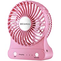 Mini Portable Desk Fan, USB 2200mAh Rechargeable Battery Cooling Fan, LED Side Light Designed for Outdoor Activities like Traveling, Camping, Boating, Picnic (Pink)
