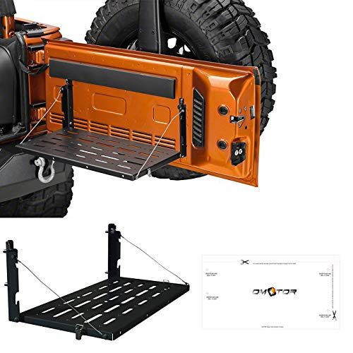 - omotor JK Tailgate Table JK Rear Door Table Storage Cargo Shelf Rack Aluminum Alloy Matte Black Rear Foldable Back Shelf fit for Jeep Wrangler JK JKU (Instruction Include)