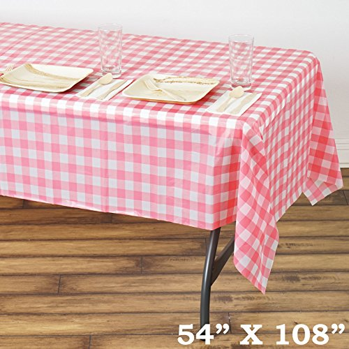 "Efavormart 5 PCS 54""x108"" White/Pink Wholesale Disposable Waterproof Checkered Plastic Vinyl Tablecloth For Outdoor Party"