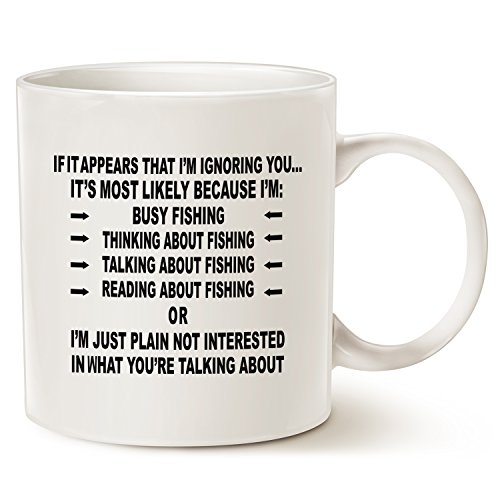 Funny Saying Fishing Obsession Coffee Mug Christmas Gifts, Unique Christmas or Birthday Gifts Porcelain Cup White, 14 Oz by LaTazas (Halloween Quotes And Sayings Funny)