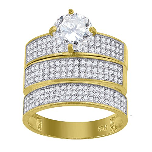 (14kt Gold Womens Two-Tone CZ Trio His Hers 3 Rows Center Stone White Wedding Engagement Bridal Set Band Ring)