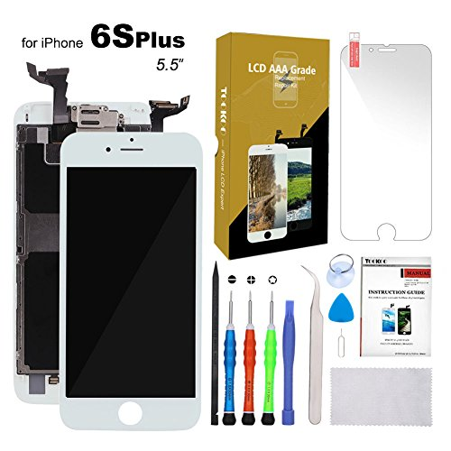For iPhone 6S Plus Screen Replacement 5.5 White LCD Display with 3D Touch Screen Digitizer Full Assembly + Front Camera + Earpiece + Free Screen Protector + Repair Tools Kit (White)