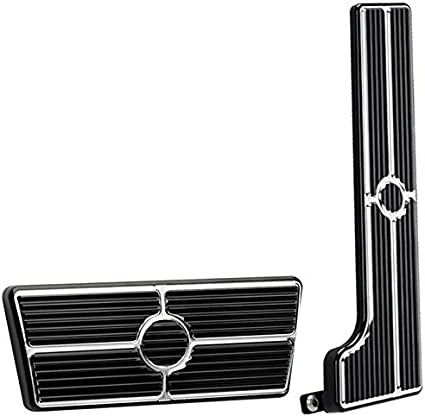 Black Billet Aluminum Gas Throttle Pedal 6 Pad Hot Rod Chevy Polished SBC 350