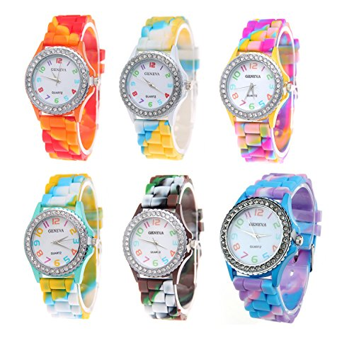 Geneva New Rainbow Crystal Rhinestone Colourful Silicone Jelly Watch Link Band 6 Pcs Fiiliip