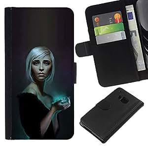 All Phone Most Case / Oferta Especial Cáscara Funda de cuero Monedero Cubierta de proteccion Caso / Wallet Case for HTC One M7 // Blue Glow Blonde