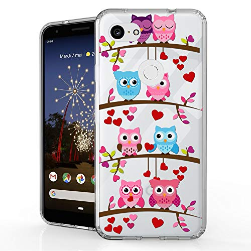 Beyond Cell Bumper Series for Google Pixel 3a XL (2019) Case, Hybrid Slim Clear Hard PC Design Flexible TPU Ultra-Thin Shockproof Transparent - Valentine Owl]()
